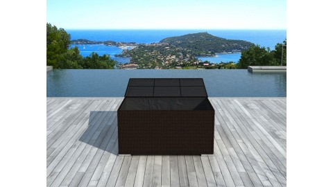 Coffre de rangement en résine tressée chocolat - Collection Box