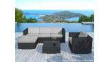 Salon de jardin en résine tressée noiree et coussins gris - Collection Copacabana