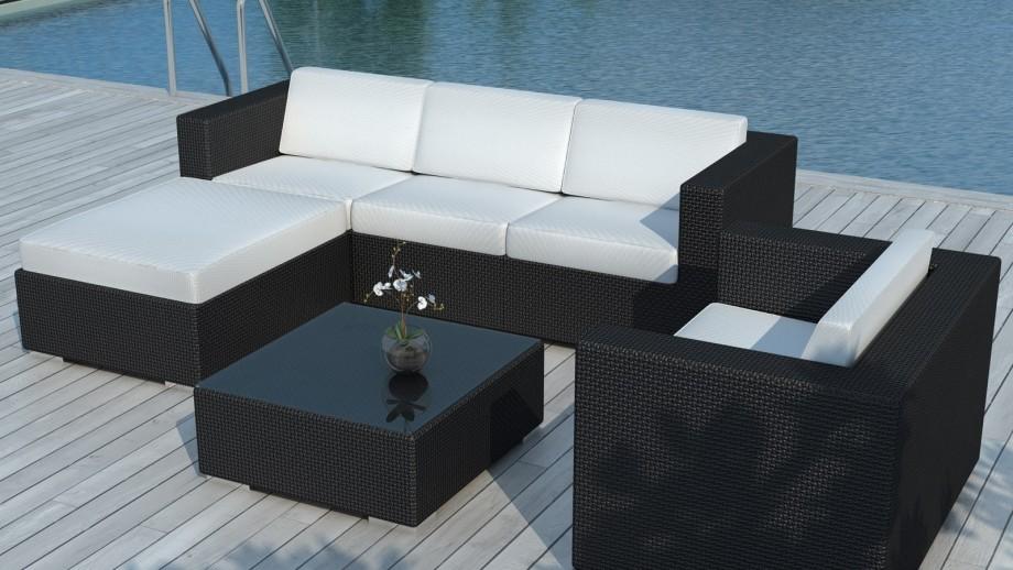 Salon de jardin en r sine tress e noiree et coussins blanc for Bain de soleil jardin