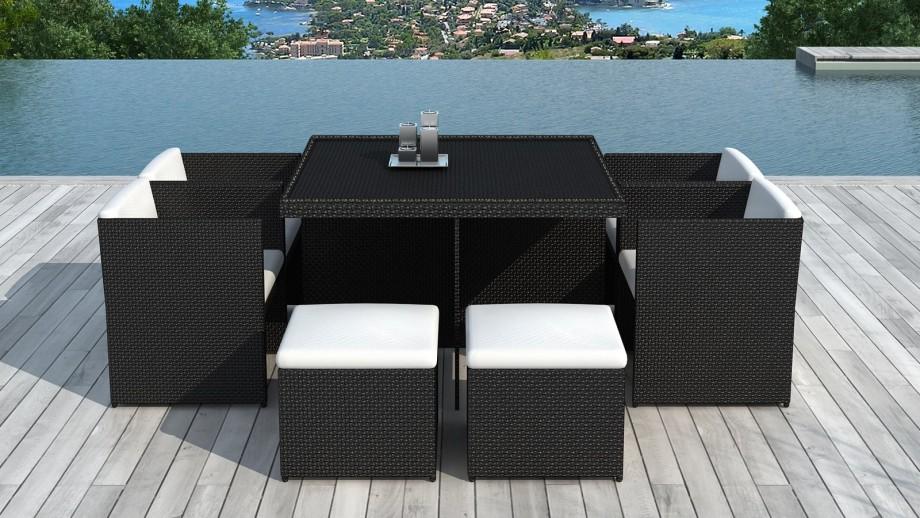 Table et fauteuils de jardin encastrables en résine tressée noire - Collection Puerto Rico