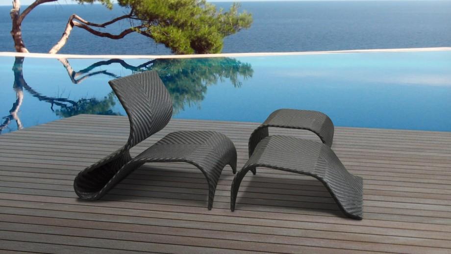 Bain de soleil en résine tressée noire, repose-pieds et table - Collection Vanuatu