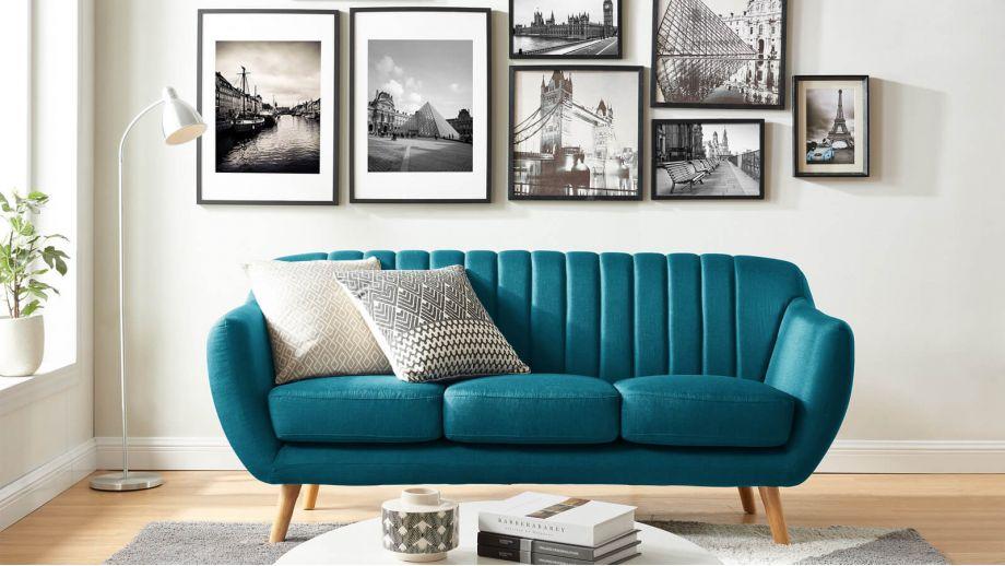 Canapé scandinave 3 places en tissu bleu – Collection Odda