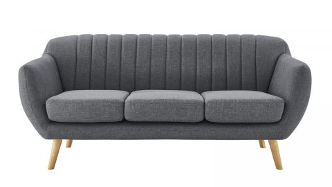 Canapé scandinave 3 places en tissu gris – Collection Odda