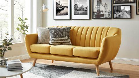 Canapé scandinave 3 places en tissu jaune – Collection Odda