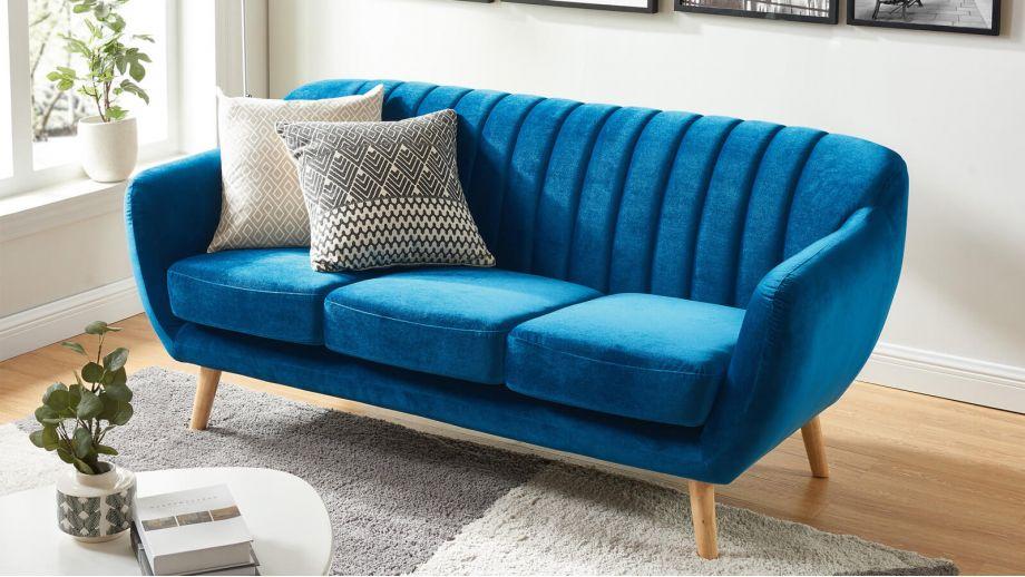 Canapé scandinave 3 places en velours bleu – Collection Odda