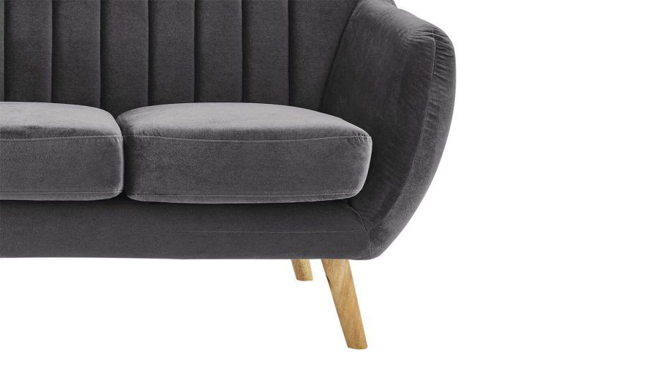 Canapé scandinave 3 places en velours gris – Collection Odda