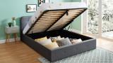 Lit coffre 160x200 cm anthracite avec tête de lit + sommier à lattes – Collection Kate