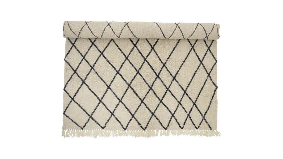 Tapis à motifs en laine et coton beige - Bloomingville