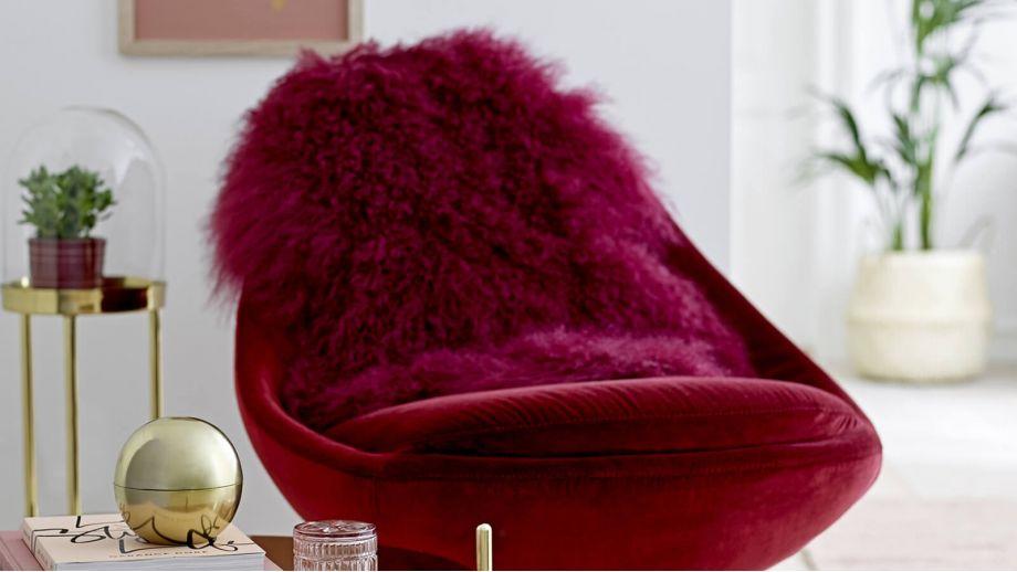 Fauteuil en velours rouge piètement en étoile doré - Bloomingville