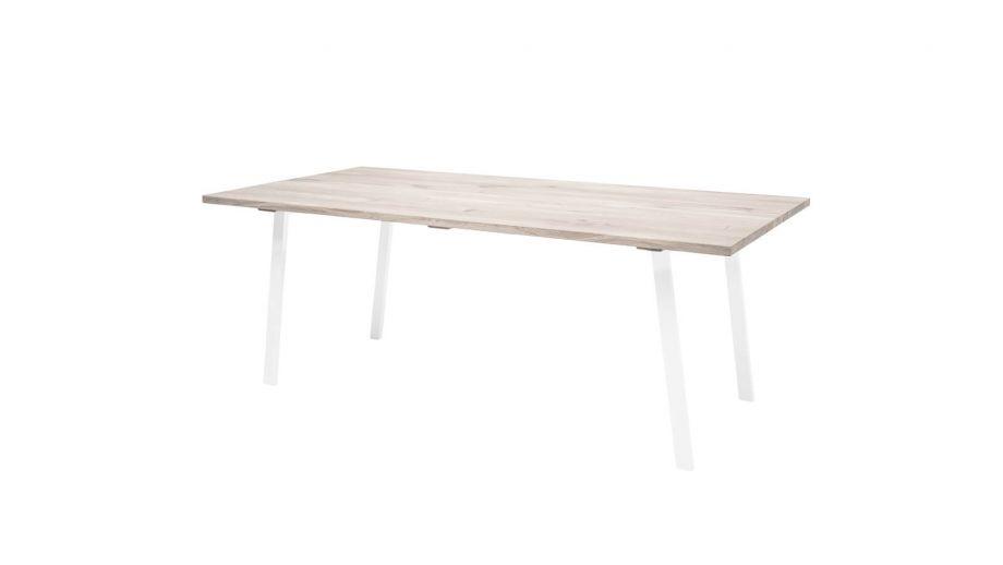 Table à manger plateau en chêne et piètement en fer blanc - Bloomingville