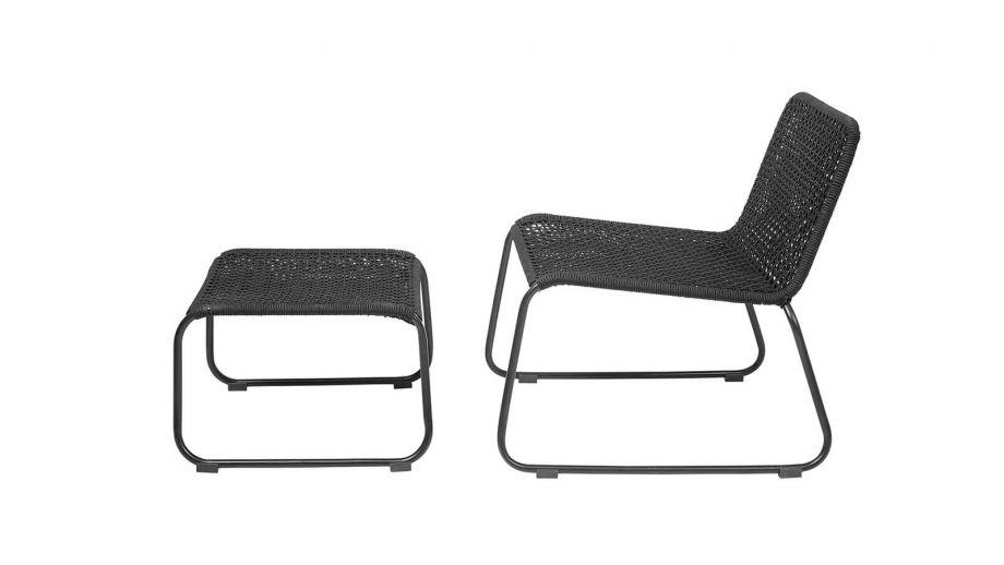 Fauteuil en métal noir avec repose pieds - Bloomingville