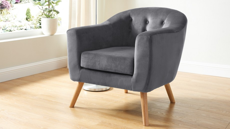 Fauteuil en velours gris – Collection Volga