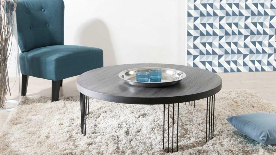 Ørjan - Table basse ronde 95 x 95 cm pieds métal