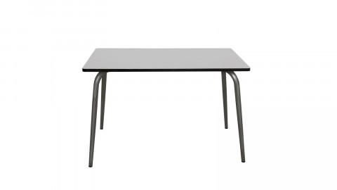 Table rétro 120x70cm gris perle pieds bruts - Collection Véra - Les Gambettes