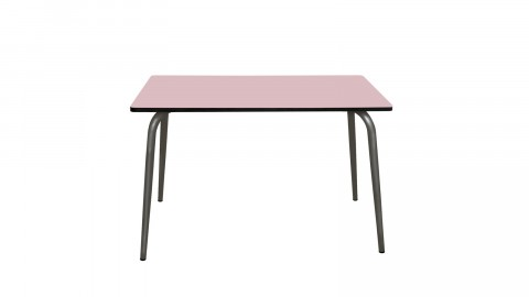Table rétro 120x70cm rose poudré pieds bruts - Collection Véra - Les Gambettes