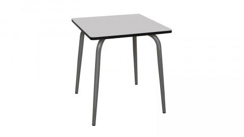 Table rétro 70x70cm gris perle pieds bruts - Collection Véra - Les Gambettes