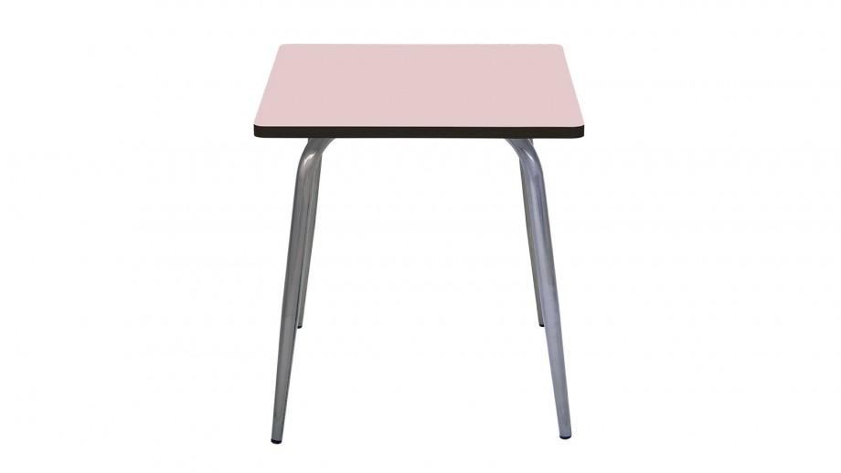 Table rétro 70x70cm rose poudré pieds bruts - Collection Véra - Les Gambettes