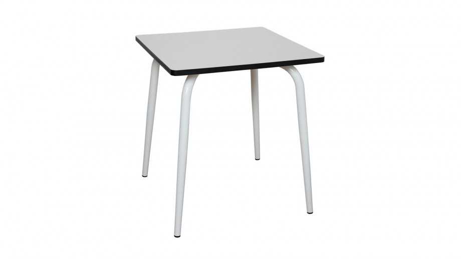 Table rétro 70x70cm gris perle pieds blancs - Collection Véra - Les Gambettes