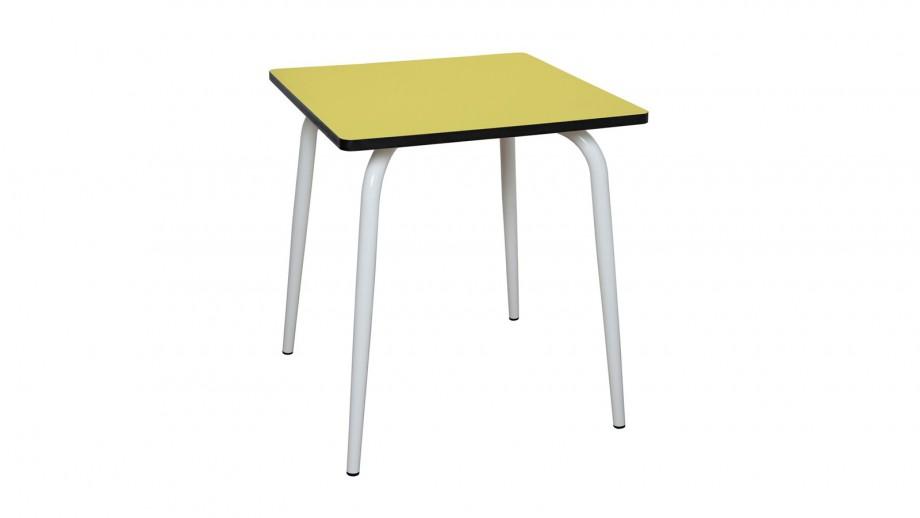 Table rétro 70x70cm jaune citron - Collection Véra - Les Gambettes