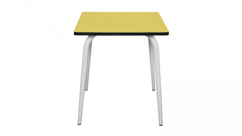 Table rétro 70x70cm jaune citron - Collection Véra - Les Gambettes