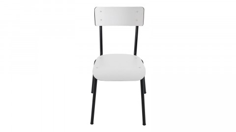 Chaise d'écolier adulte blanche pieds noirs - Collection Suzie - Les Gambettes