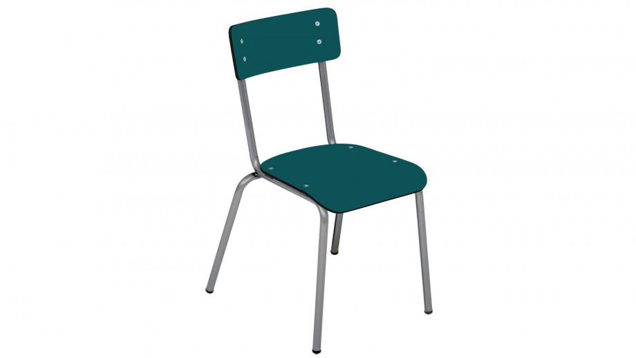 Chaise d'écolier adulte bleu canard pieds bruts - Collection Suzie - Les Gambettes