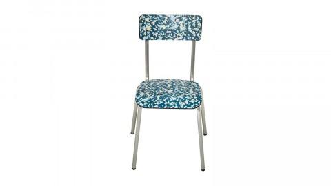 Chaise d'écolier adulte bleu minéral pieds bruts - Collection Suzie - Les Gambettes