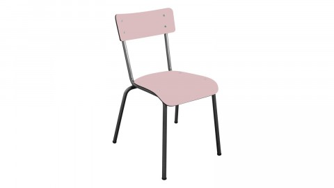 Chaise d'écolier adulte rose poudré pieds bruts - Collection Suzie - Les Gambettes