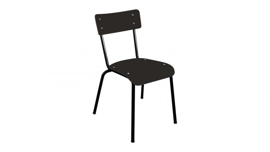 Chaise d'écolier adulte noire pieds noirs - Collection Suzie - Les Gambettes