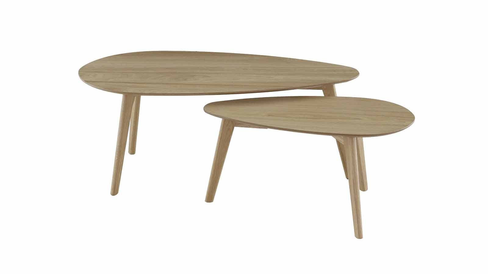 set de 2 tables basses gigognes scandinaves en ch ne. Black Bedroom Furniture Sets. Home Design Ideas