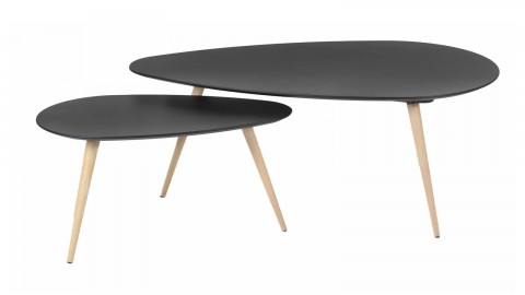 Set de 2 tables basses gigognes scandinaves en bouleau noir, piètement conique - Collection Harøld