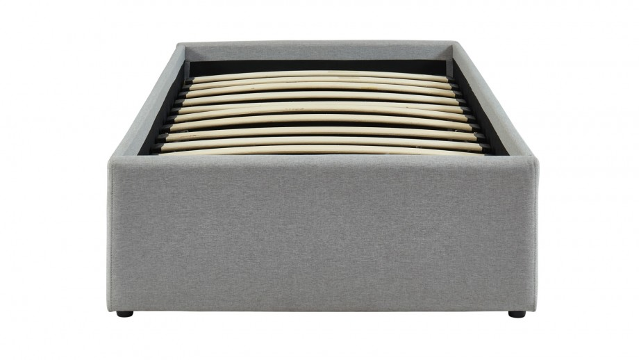 Lit coffre 90x190cm gris clair + sommier à lattes - Collection Handy