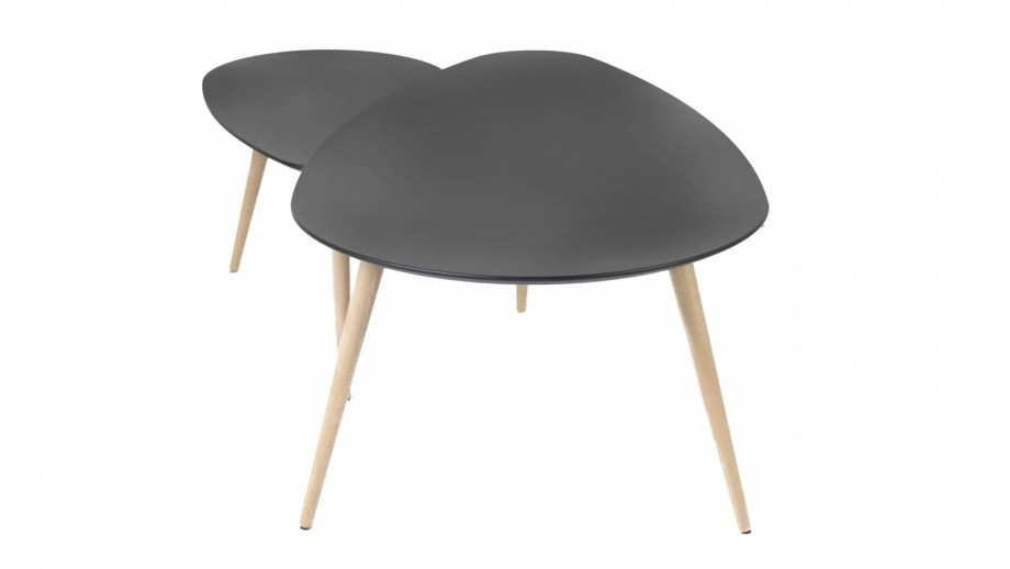 Harøld - Tables basses gigognes Scandinave laquées noir mat