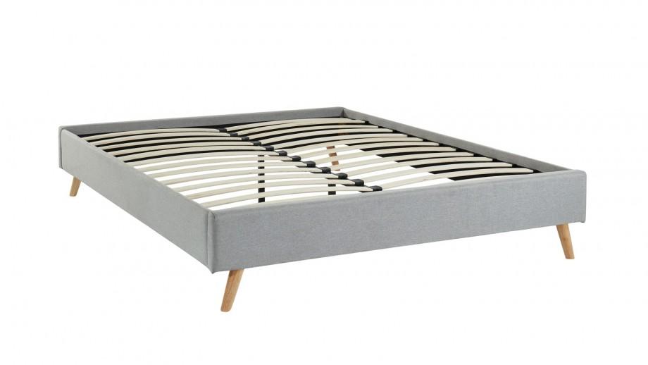 Lit 140x190 gris clair + sommier à lattes - Collection Visby