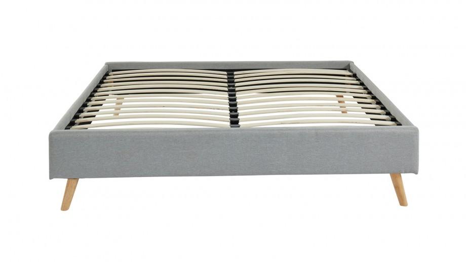 Lit 160x200 gris clair + sommier à lattes - Collection Visby