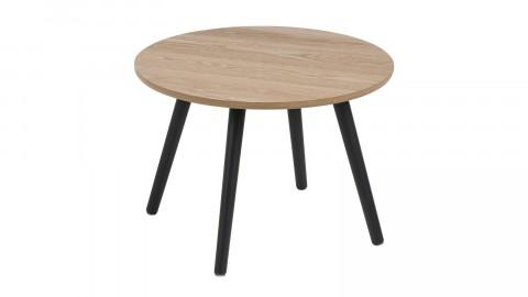 Petite table basse ronde en bois piètement noir - Collection Stafford