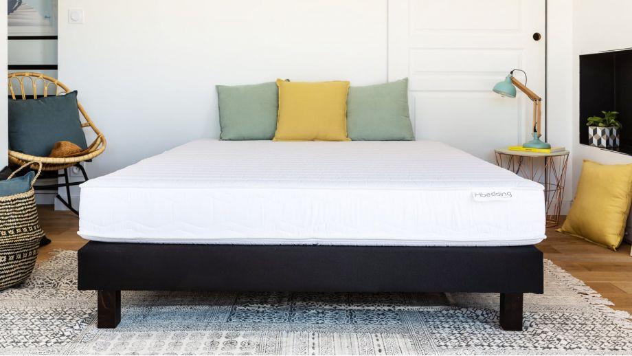 Ensemble matelas mousse haute densité + sommier 90x190 Confort Zen Hbedding - Coutil microfibre déhoussable