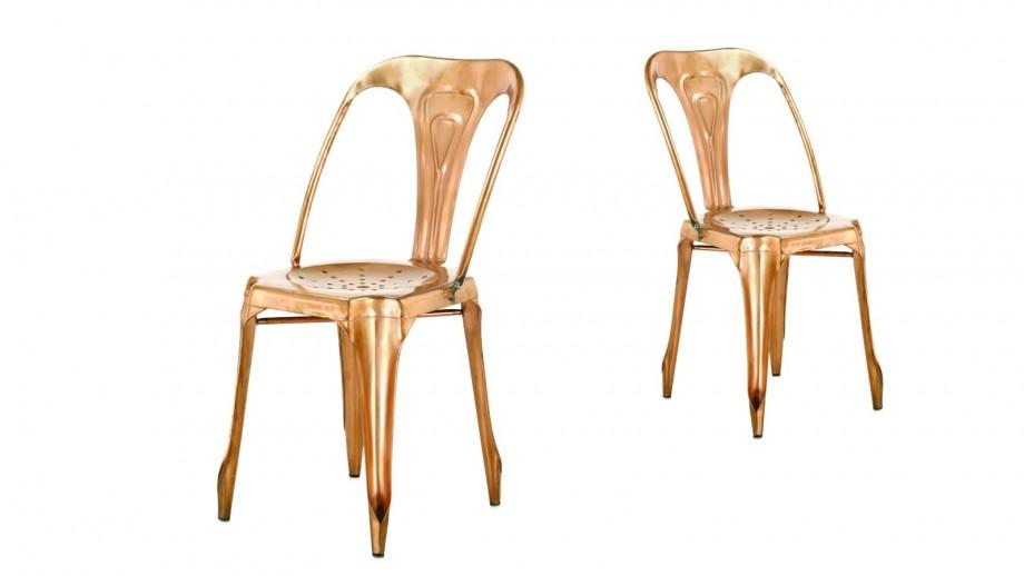 Factø - Lot de 4 chaises style industriel, cuivrée brillante