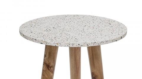 Lot de 2 tabourets en béton blanc piètement en bois - Collection In Stool - Bloomingville