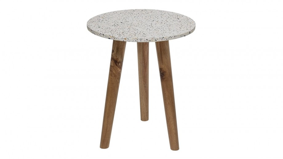 Lot de 2 tabourets en béton blanc piètement en bois - Collection In Stool - Bloomingville