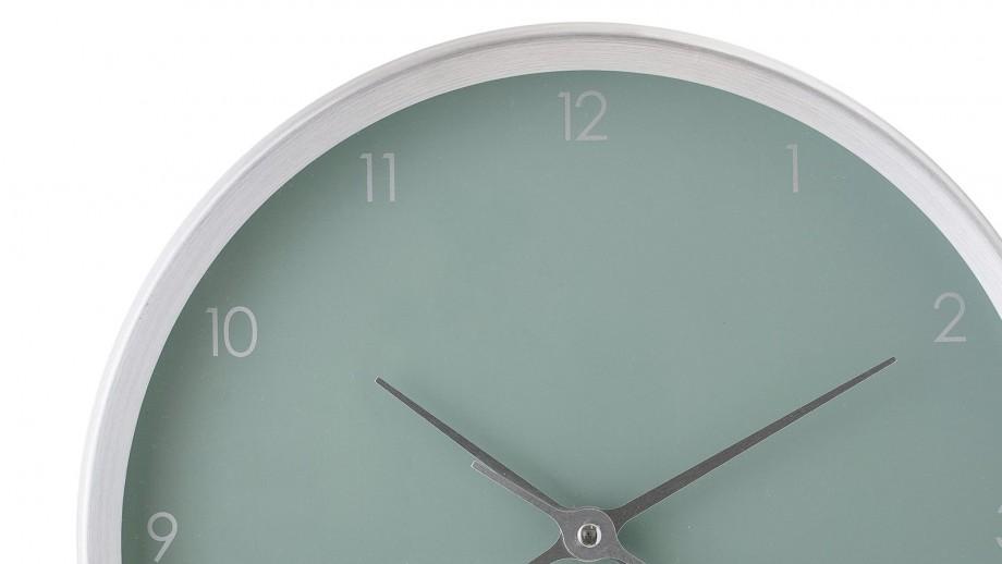 Horloge murale en aluminium argenté et fond vert d'eau - Bloomingville