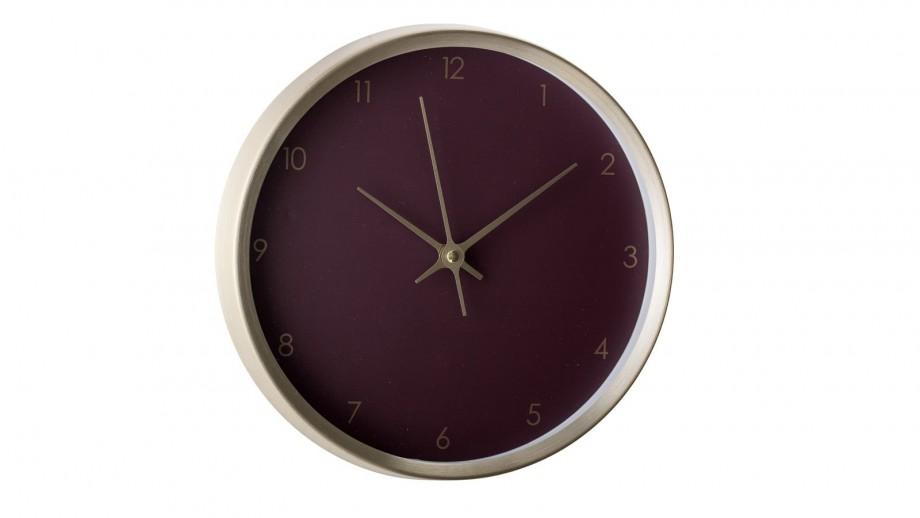 Horloge murale en aluminium doré et fond rouge - Bloomingville