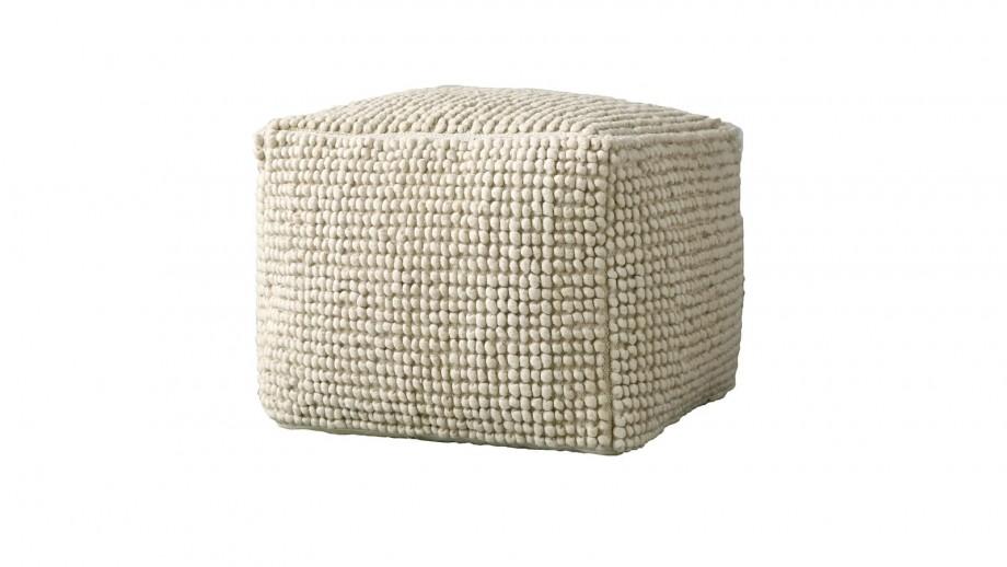 Pouf carré en laine beige - Collection Fleur de Sel - Bloomingville