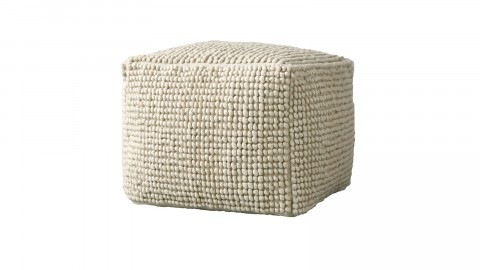Pouf carré en laine beige - Collection Fleur de Sel - Bloomingville