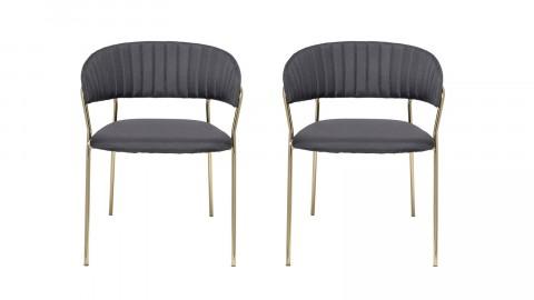 Lot de deux chaises en tissu noir et métal - Collection Dining Chair - Bloomingville