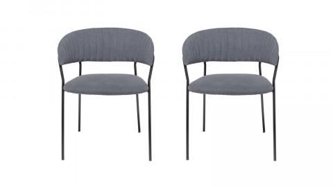 Lot de deux chaises en tissu gris et métal - Collection Dining Chair - Bloomingville
