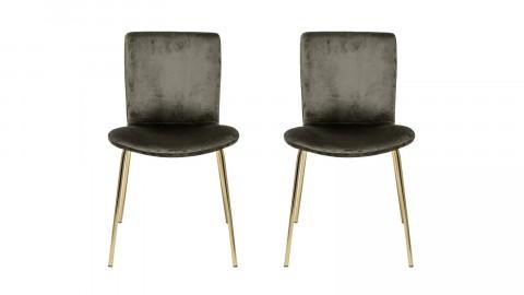 Lot de deux chaises en velours vert kaki et pieds en métal doré - Collection Bloom Dining - Bloomingville