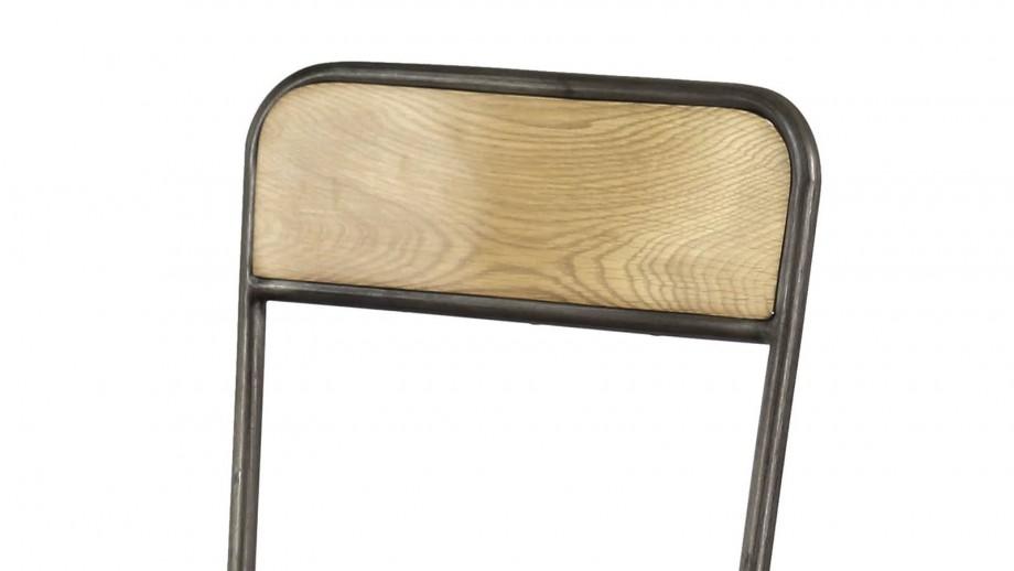 Scøtt - Lot de 2 chaises style Industriel, chêne et métal brossé