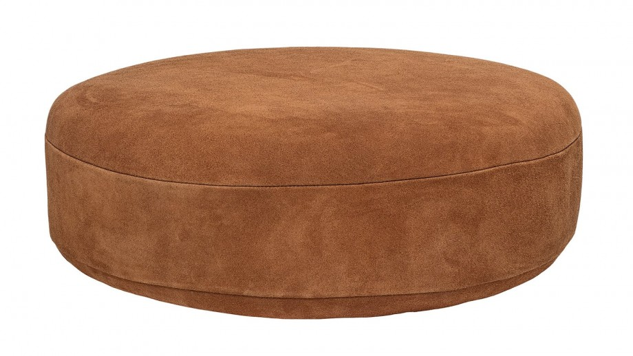 Pouf rond en daim marron - Collection Time - Bloomingville