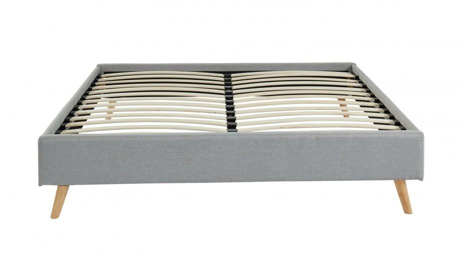 Ensemble lit Visby 90x190 gris clair + matelas mémoire de forme Memo Zen 90x190 Hbedding